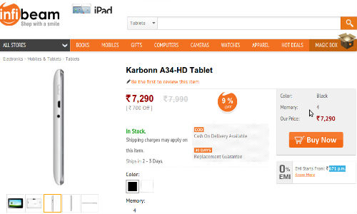 Karbonn A34 HD Tablet Now Available on Infibeam at Rs 7,290