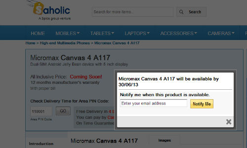 Micromax Canvas 4 A117 Gets Listed on Saholic: Coming on June 30