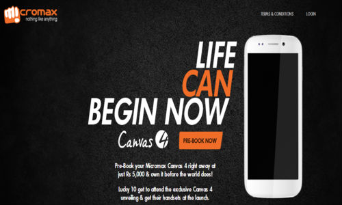 Micromax Canvas 4 Pre Order Opens Up; Shipping Starts July 10