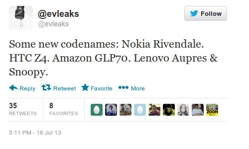 Nokia Rivendale, HTC Z4, Amazon GLP70, Lenovo Aupres And Snoopy Leak