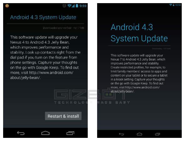 Android 4.3 Jelly Bean: Google Speeds up Nexus 4 and Nexus 7 Update