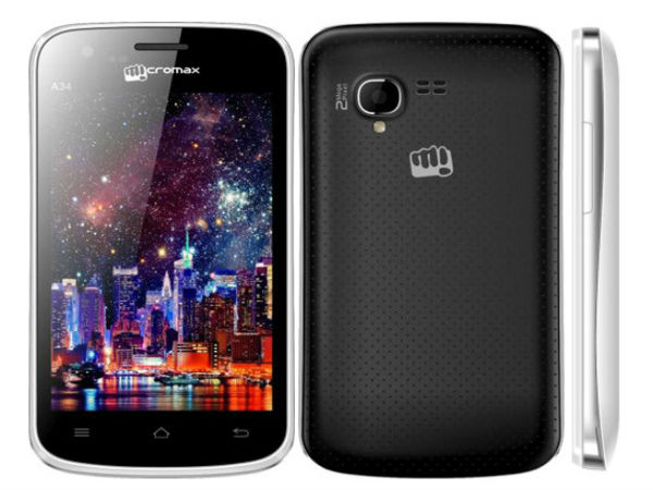 Micromax A34 comes with 3.95-inch display