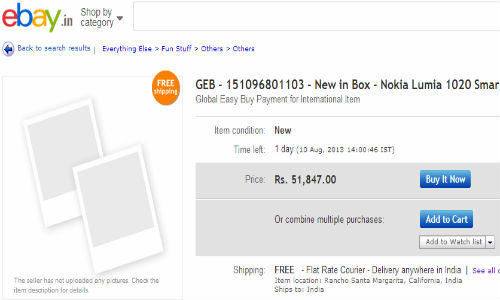 Nokia Lumia 1020 Spotted On eBay India, selling at Rs. 51,847
