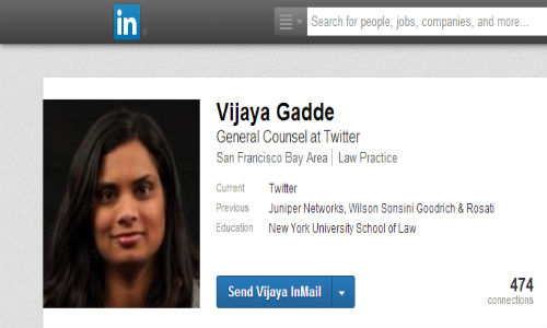 Vijaya Gadde named Twitter's New General Counsel