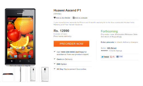 Huawei Ascend P1 with Ice Cream Sandwich OS Pre Order Up At Rs 12,990