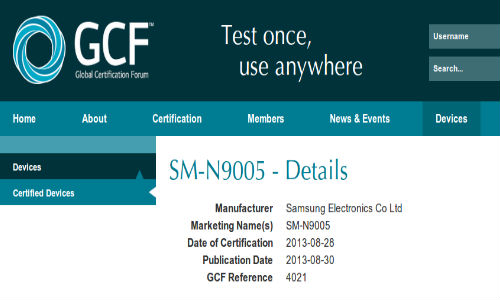 Samsung Galaxy Note 3 Spotted on GFC: Global LTE Variant Coming