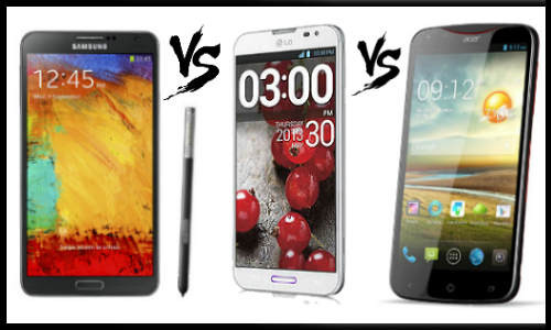 Samsung Galaxy Note 3 vs LG Optimus G Pro and Acer Liquid S2
