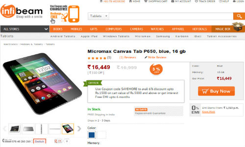 Micromax Canvas P650 Tab: 8 Inch Quad Core Tablet Now Available To Buy
