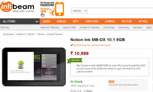 Notion Ink MB-OX 10.1: Dual Core Tablet Launched Online in India