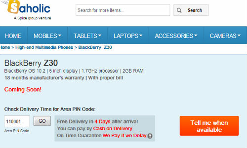 BlackBerry Z30 Gets Listed Online : Coming Soon to India
