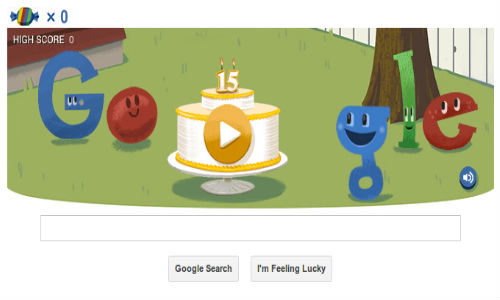 Google Celebrates its 15th Birthday With Interactive Piñata Doodle