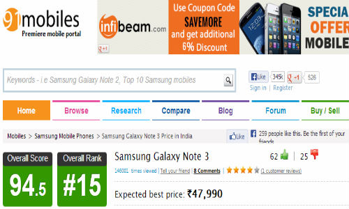 Samsung Galaxy Note 3 Gets Listed Online, To Cost Rs 47,990 in India?