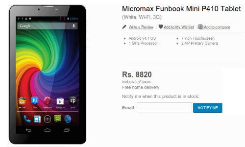 Funbook Mini P410: Micromax New Dual SIM 3G Calling Tablet Coming SOon