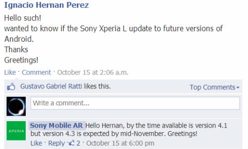 Sony Xperia L To Get Android 4.3 Update in mid-November