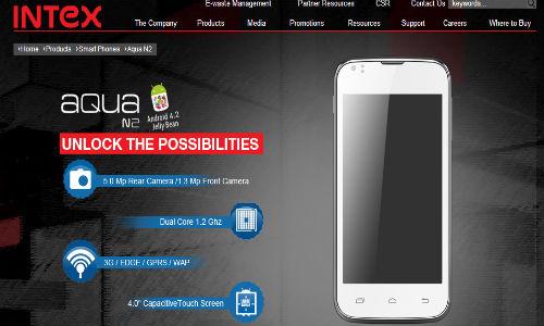 Intex Cloud X5 and Aqua N2 Spotted on Company's website