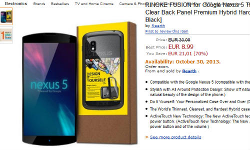 Amazon Listing of Accessory Hints Nexus 5 Availability on October 30