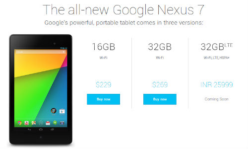 Nexus 7 32GB 3G LTE Tablet Gets Listed at Rs 25,999 On Google Site