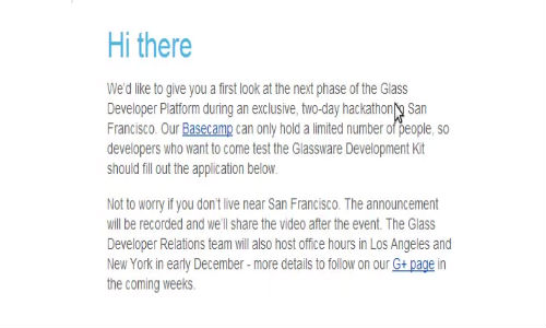 Google Announces to Showcase Glassware Development Kit on November 19