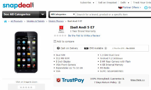 iBall Andi 5-E7 Launched At Rs 6,999