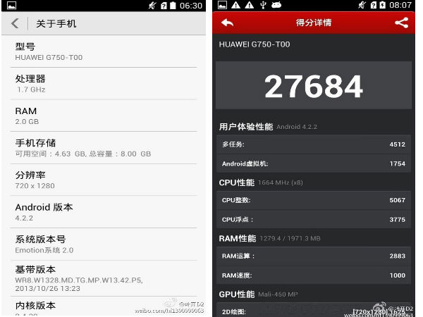 Huawei G750 Leaked Online Touting MediaTek MT6592 Octa Core SoC