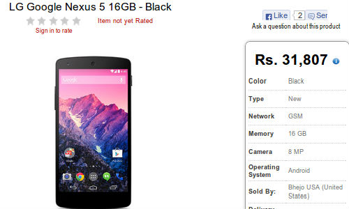 Google Nexus 5 Now Available in Indian Online Store At Rs 31,807