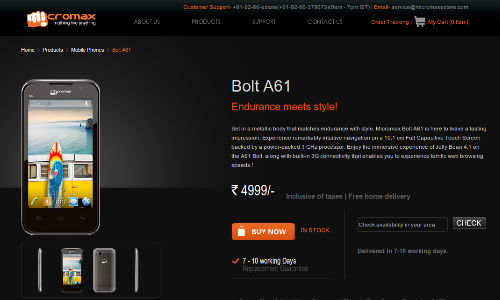 Micromax Bolt A61 Launched Online At Rs 4,999