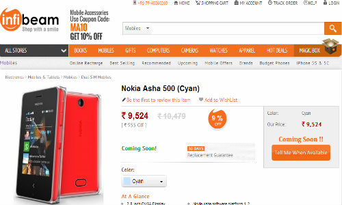 Exclusive: Nokia Asha 500 Spotted Online At Rs 9,524