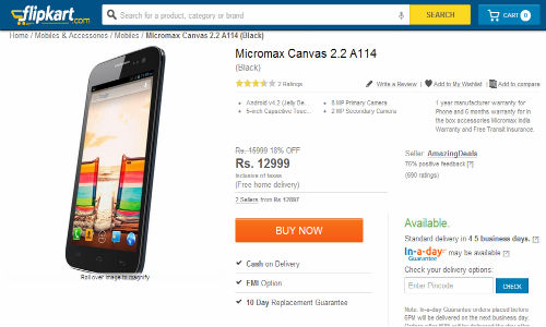 Micromax Canvas 2.2 A114: 5 Inch Smartphone Spotted Online at Rs 12999