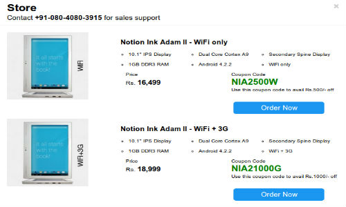 Notion Ink Adam 2 Tablet Starts Selling at Rs 16,499 in India