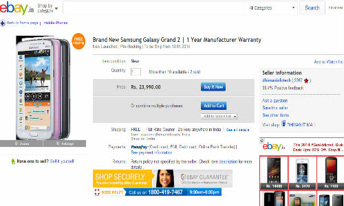 Samsung Galaxy Grand 2 Available Online At Rs 23,990