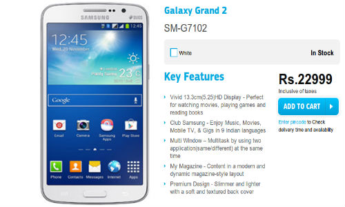 Samsung Galaxy Grand 2 Now Available in India at Rs 22,999