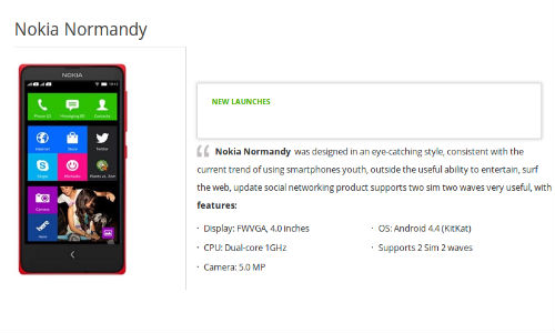 Nokia Normandy Smartphone With Android KitKat OS Gets Listed Online