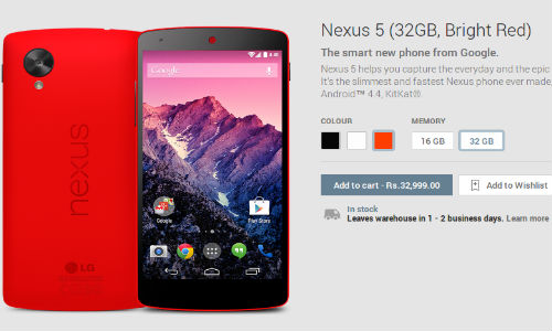 Red Nexus 5 Now Available Via Google Play Store