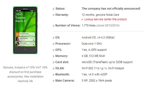 Nokia Normandy Smartphone with Android KitKat OS Listed Online Again