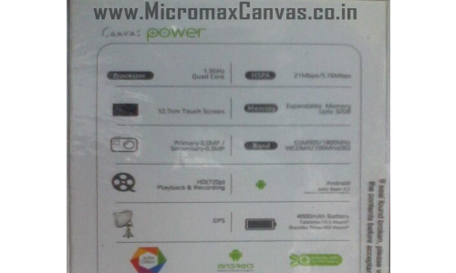 Micromax Canvas Power to Arrive with Massive 4000 mAh Battery