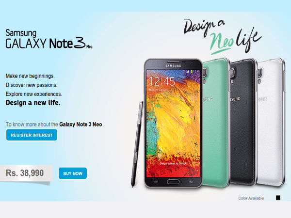 Samsung Galaxy Note 3 Neo Up For Sale In India For Rs 38,990