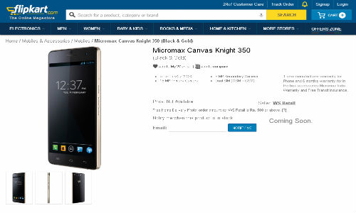 Micromax Canvas Knight A350 Now Listed Online: Coming Soon To Flipkart