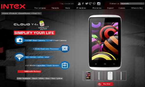 Intex Cloud Y4+: 4 Inch Smartphone Now Listed Online on Official Site