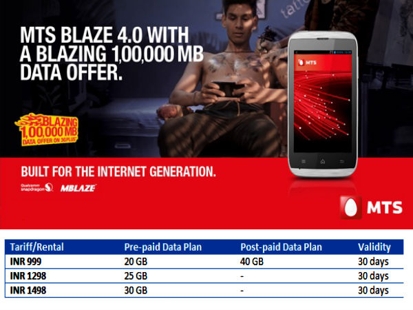 MTS Super Unlimited Plans Launched: Now Offers 40GB of Data for Rs 999