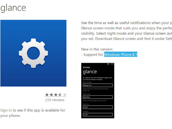 Nokia App Store Confirms Windows Phone 8.1: Glance App Updated