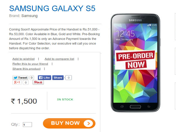 Samsung Galaxy S5 Octa-Core Variant Up For Pre-Order in India