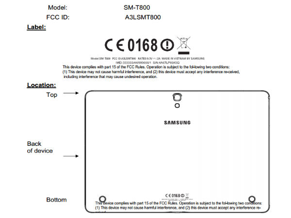Samsung SM-T800 Tablet Spotted Online on FCC Database