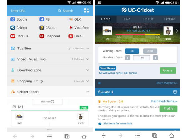 UC Browser for Android Now Updated With New Features For IPL Fans