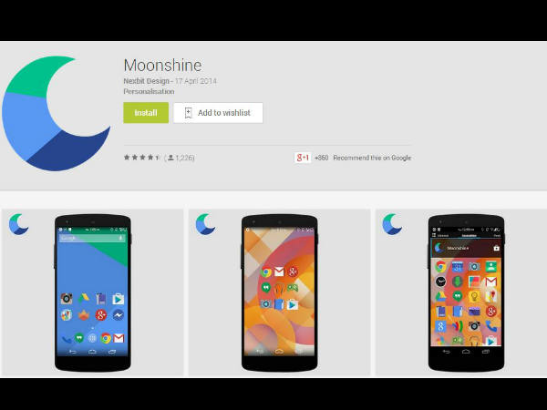 Google Play Introduces Moonshine UI themed icons for Download