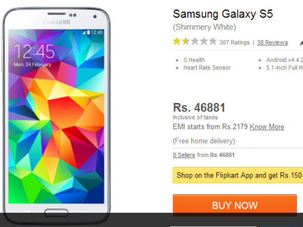 Samsung Galaxy S5 Gets A Price Cut to Rs 46,881