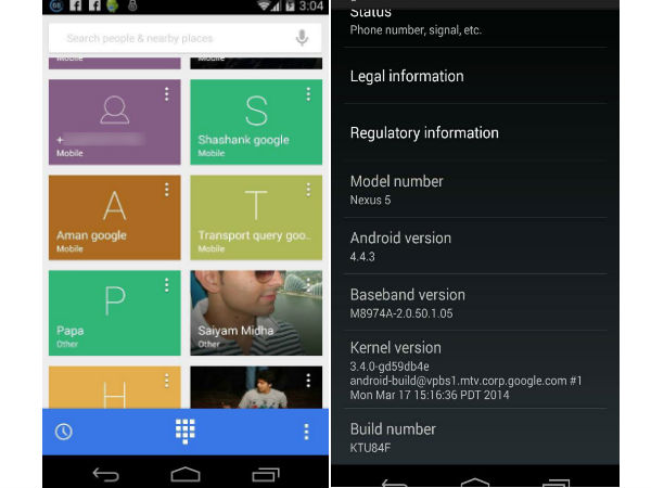 Android 4.4.3 Dialer Screenshot Leaked, Shows New Design and Features