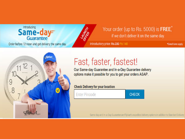 Flipkart Launches Same Day Guarantee Delivery in 10 Cities