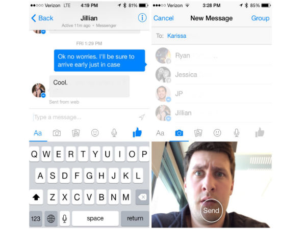 Facebook Messenger Gets In-App Camera, Video Sharing Feature