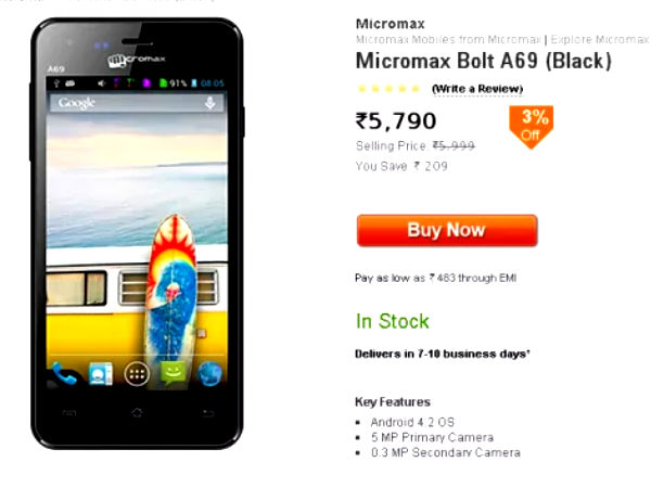 Micromax Bolt A69 Featuring Dual SIM Support Now Available For Rs 5999