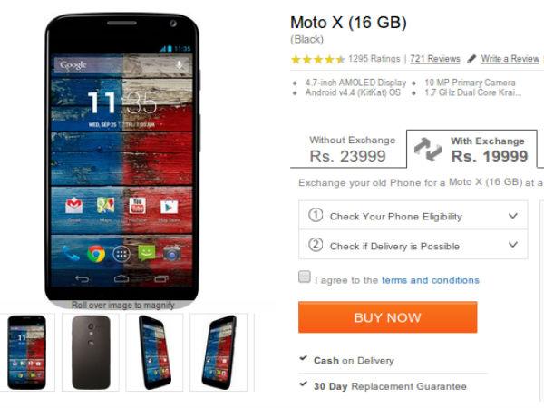 Motorola Moto X Exchange Offer Now Available On Flipkart